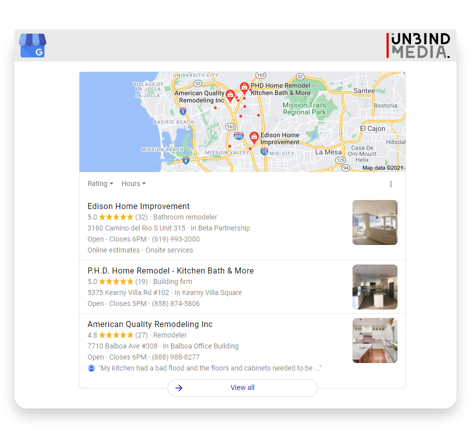 Google's Local 3-pack for remodeling contractors