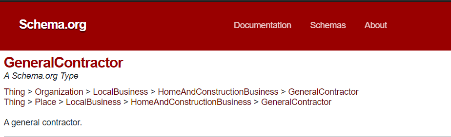 Schema.org for general contractor
